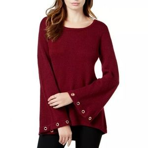 Burgundy Grommet Bell Sleeve Scoop Neck Sweater M